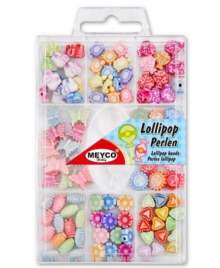 Meyco Lollipopp Kunststoff-Perlenmischung, Perlenset 100 Teile