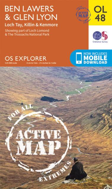 BEN LAWERS & GLEN LYON ACTIVE Map - OL 48 - OS - Ordnance Survey  INC. DOWNLOAD