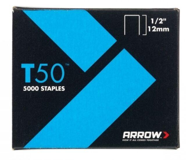 Arrow - T50 Staples 12mm (1/2in) Box 1250