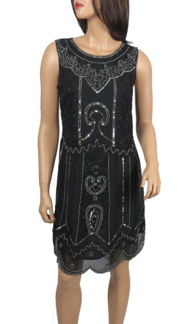 Black 1920s Gatsby Fully Embellished Shift Dress From Size 8 To