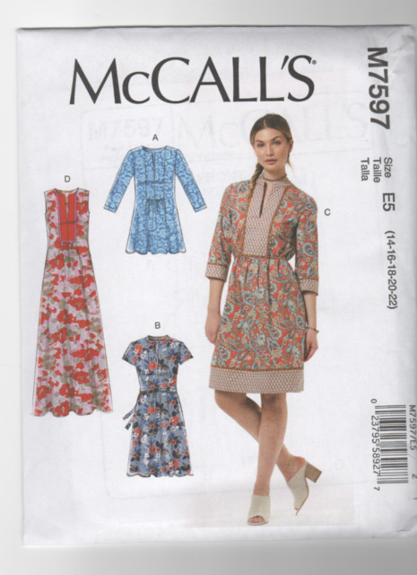 18.95 Retail Mccall\'s M7597 Sewing Pattern Tunic and Dress Pullover ...