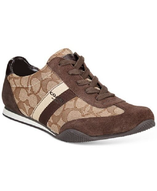 Coach Women's Shoes Kelson Outline Suede SNEAKERS Khaki Chestnut Q7839 9.5  | eBay
