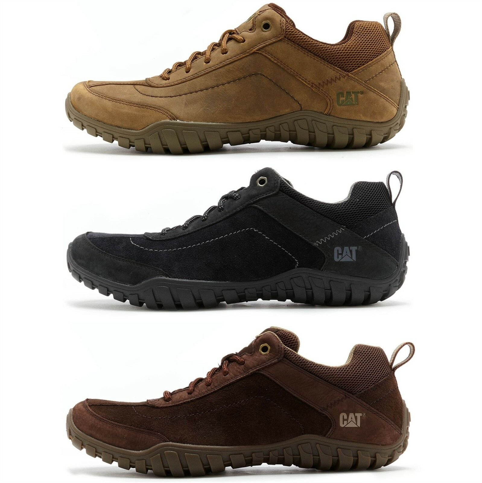 Caterpillar CAT Arise Suede Hiking Wide Shoe in Black & Brown Beaned