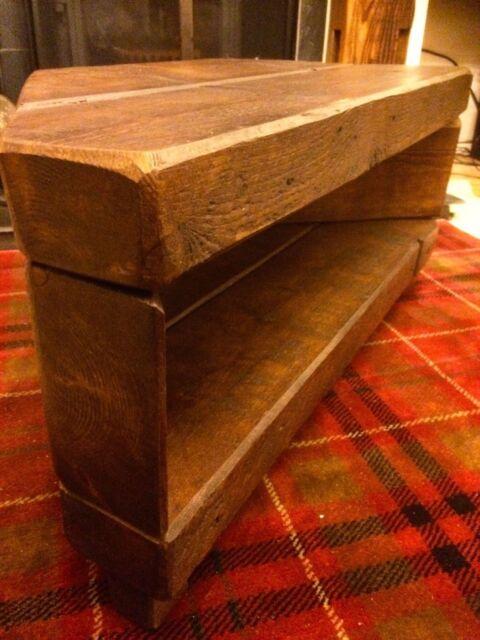 Corner Rustic Pine TV Unit solid chunky wood stand/cabinet - dark oak wax  finish - Corner Rustic Pine TV Unit Solid Chunky Wood Stand/cabinet - Dark
