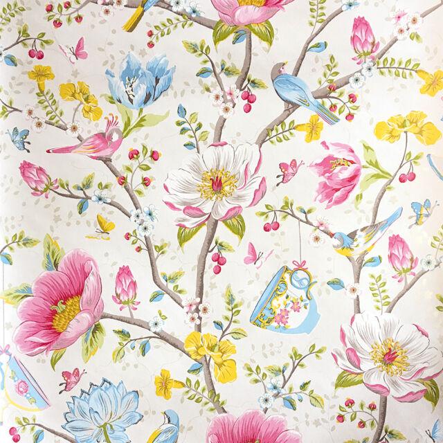 vlies tapete eijffinger pip wallpaper 341000 blumen muster v gel creme bunt ebay. Black Bedroom Furniture Sets. Home Design Ideas
