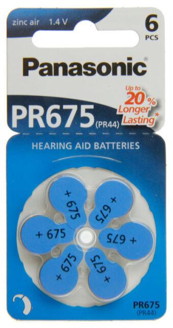 60x Panasonic Worldwide PR675 PR44 Hörgerätebatterien PR675/6BL 10 Blister