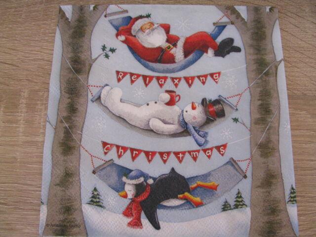 4  Servietten Relaxng Christmas die 3 beim Ausruhen