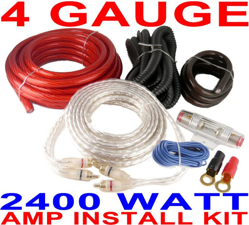 4 gauge amp kit 2400 watts car amplifier install power fast usa ebay rh ebay com 4 gauge wiring kit walmart 4 gauge wiring kit for amp