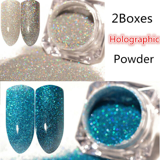 2boxes Holographic Holo Laser Glitter Powder Dust Nail Art Manicure ...