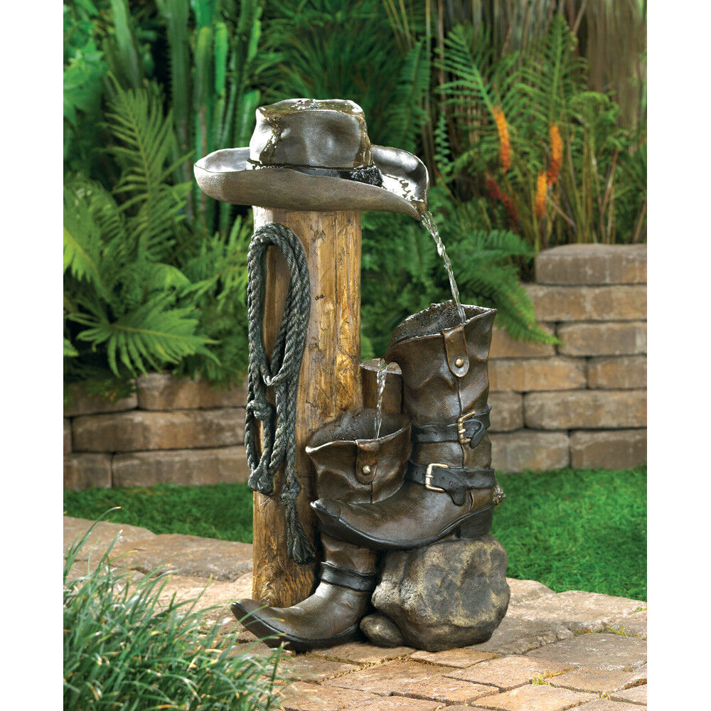 Gifts & Decor Wild Western Rustic Cowboy Hat Boot Water Fountain | eBay