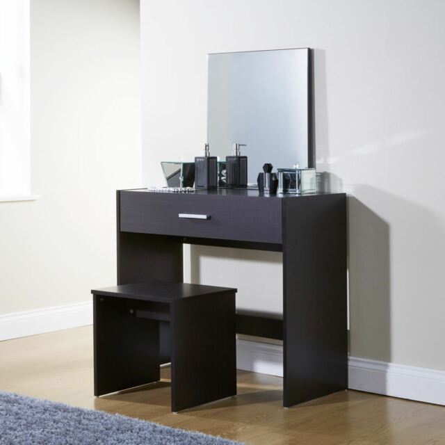 Julia Espresso Vanity Dressing Makeup Table Set Mirror Stool Storage Drawer  Desk