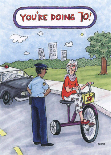 Oatmeal Studios Bicycle Traffic Stop Funny 70th Feminine Birthday