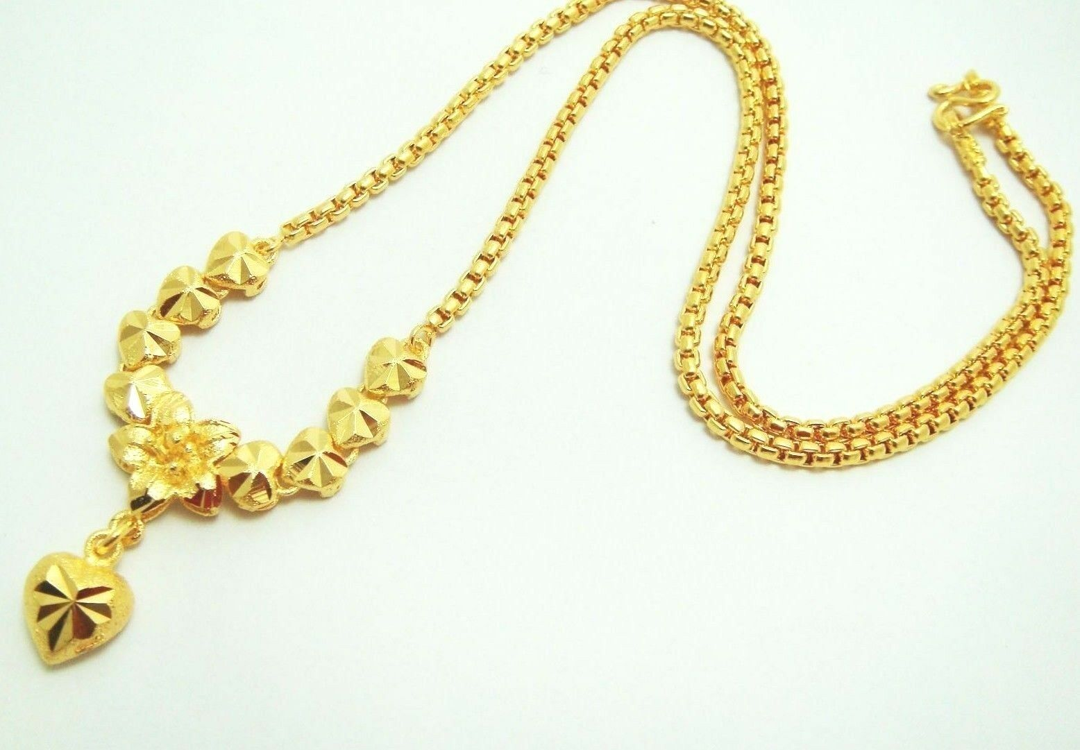 Heart Flower 22k 23k 24k Thai Baht Yellow GP Gold Necklace Jewelry