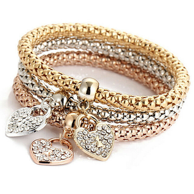 3pcs Rose Gold Silver Bracelets Set Bangle Jewelry Rhinestone 3