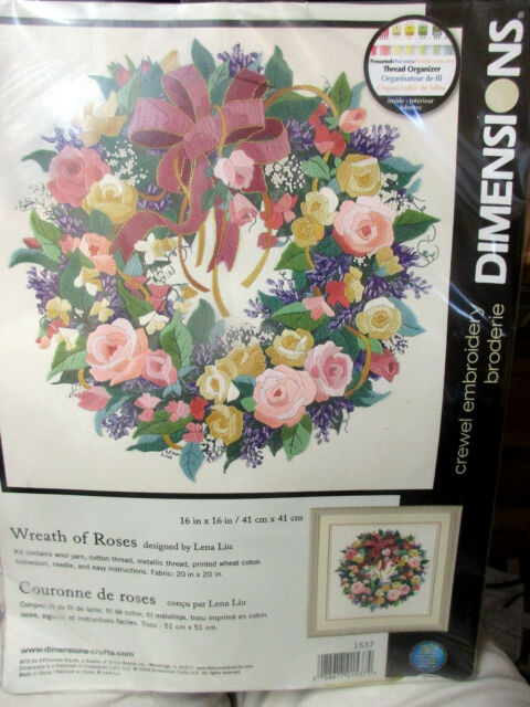 Dimensions 1537 Wreath Of Roses Crewel Embroidery Kit Ebay