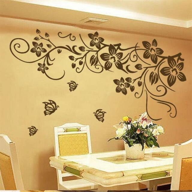 Butterfly Vine Flower Wall Decal Vinyl Art Stickers Living Room ...