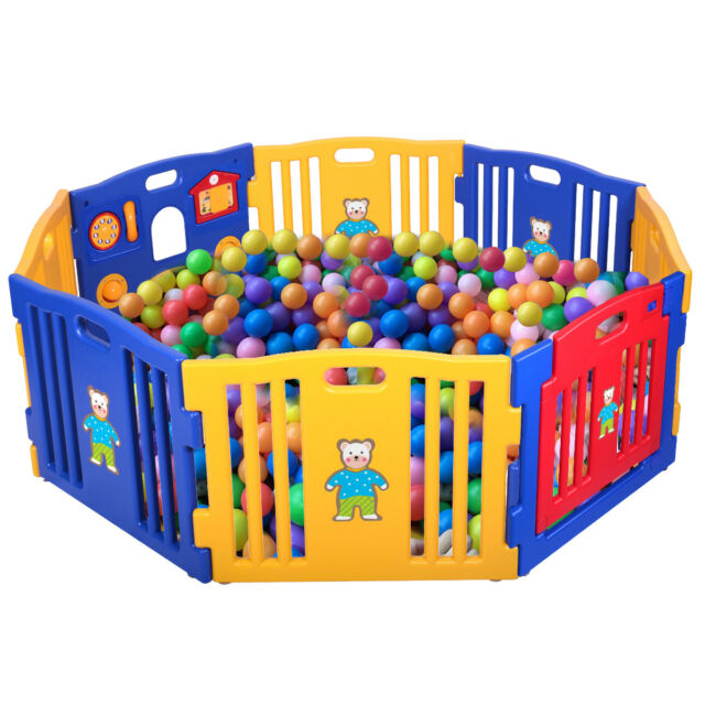 Baby Playpen Kids 8 Panel Safety Play Center Yard Home Indoor ...