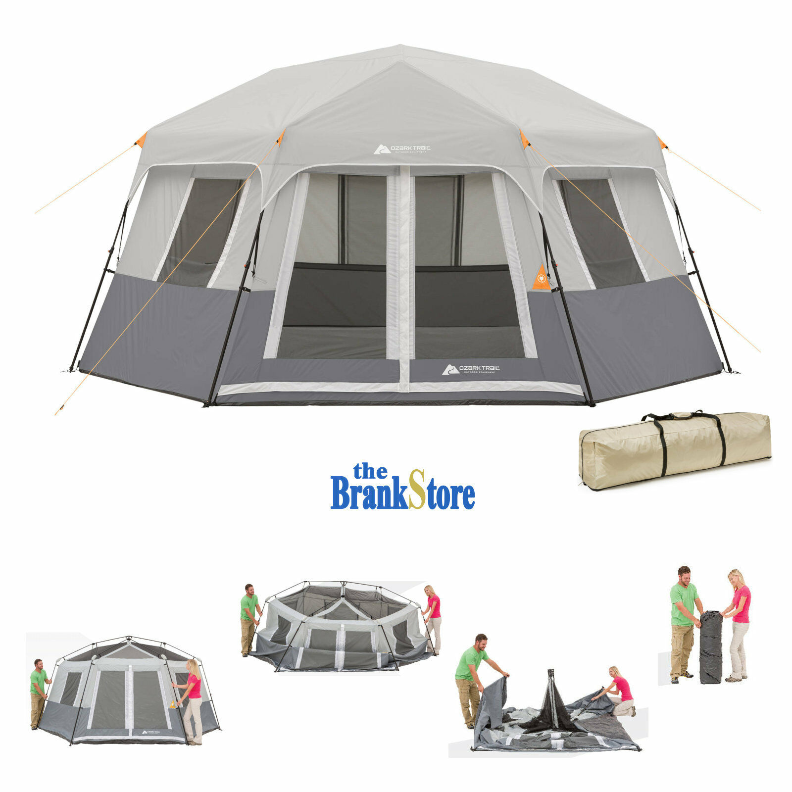 Picture 1 of 12 ...  sc 1 st  eBay & Instant Cabin Tent EZ Pop up Hexagon Tents 8 Person Outdoor ...