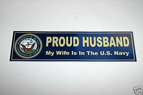 My wife us navy proud husband decal bumper sticker