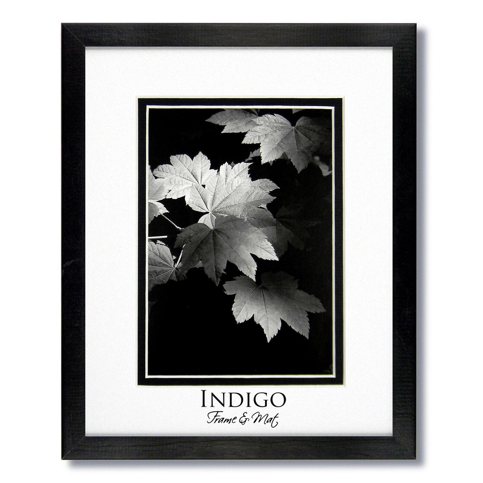 Set of 2 - 11x14 Black Wood Frames Clear Glass White/black Mats for ...
