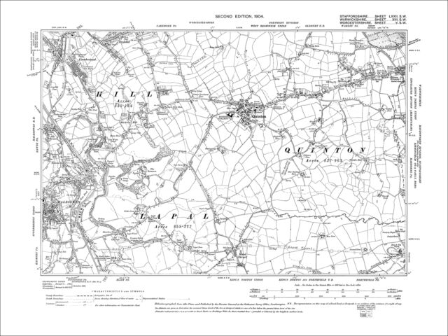 Halesowen E Cakemore S Quinton Moor Street Old Map Worcs 1904 5sw eBay