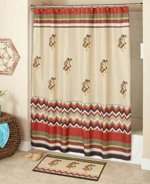 Kokopelli Southwestern Shower Curtain Hooks Rug Aztec Santa FE Accessory Set