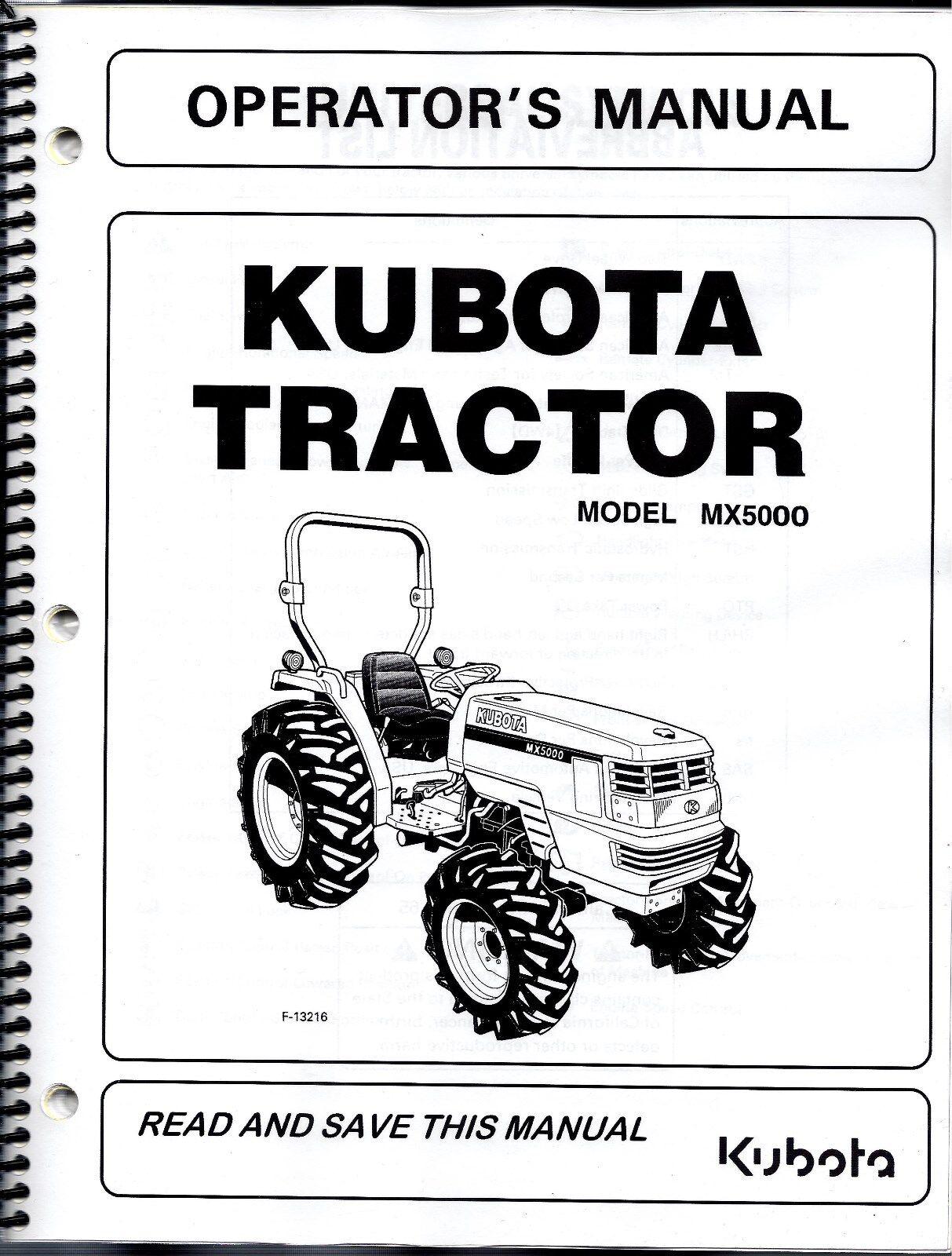 kubota mx5000 tractor plus loader operator s manuals set of 2 ebay rh ebay com service manual for kubota tractor b7800 repair manual for kubota tractor