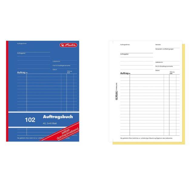 Herlitz Auftrag Auftragsbuch A5 102 2x40 Blatt selbstdurchschreibend SD