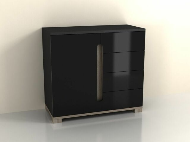 High Gloss Black Sideboard Drawer Narrow Cabinet Unit Small Cupboard Shelves