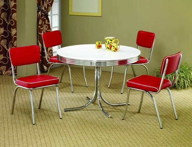 Red 50s Retro 5PC Dining Set Table Chairs Chrome Kitchen Dinette Vintage  Metal