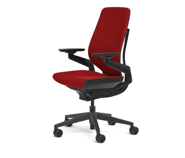 Steelcase Gesture Chair Adjule Cogent Connect Shell Black Frame Scarlet Red