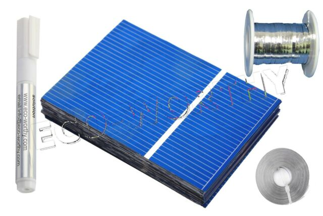 40pcs 52x76mm Solar Cells Kit w/ Tab Wire, Bus Wire, Flux Pen DIY Solar Panel