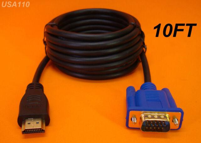 10 FT 3m Long HDMI to VGA Monitor Cable Computer to TV Cord 15-pin ...