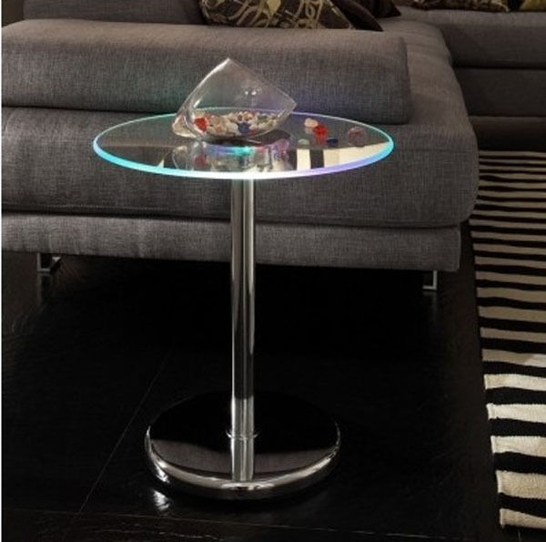 LED Lighted Edge Accent Table Round Glass Top Chrome Base End Tables