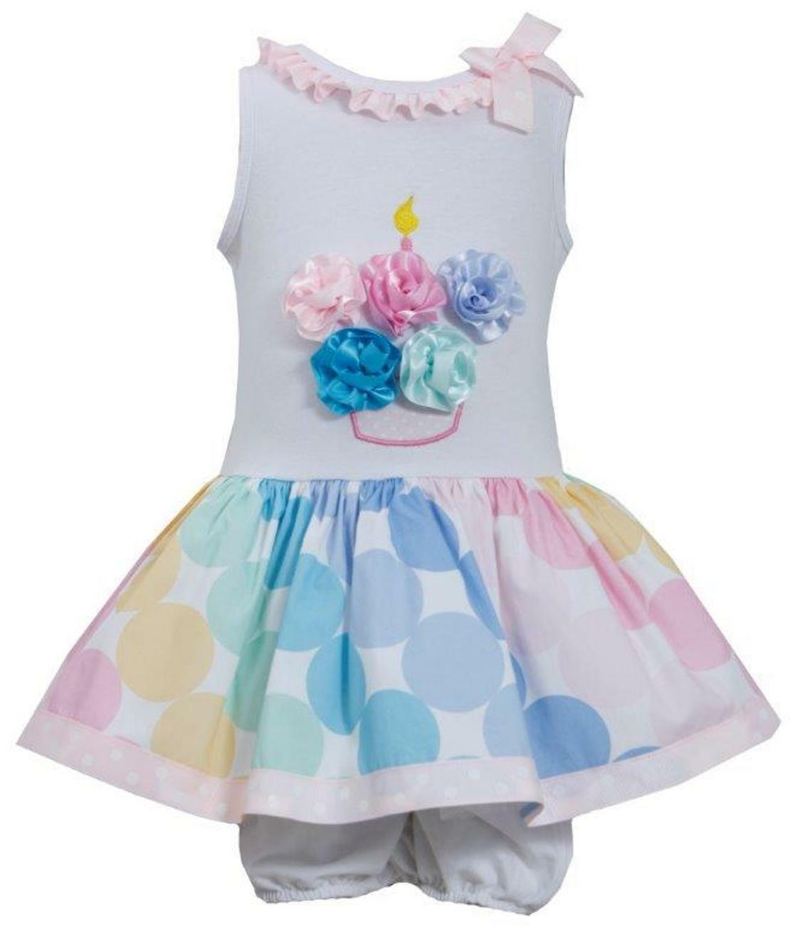 Bonnie Jean Girls Cupcake Multi Color Polka Dot Birthday Party Dress ...