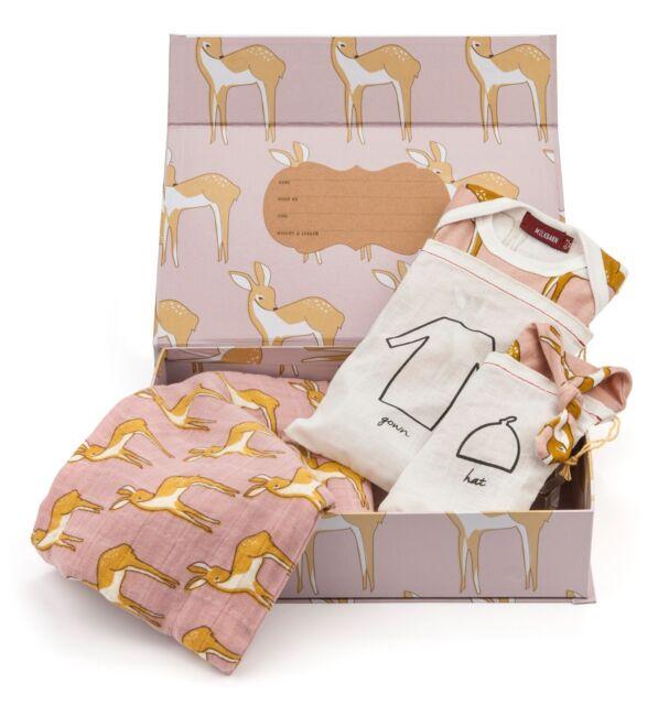 Milkbarn Organic Newborn Gown Hat and Swaddle Blanket Keepsake Set ...