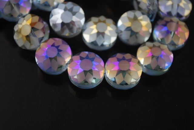 5pcs 14mm Round Discoid Faceted Crystal Glass Dull Polish Beads Purple Colorized