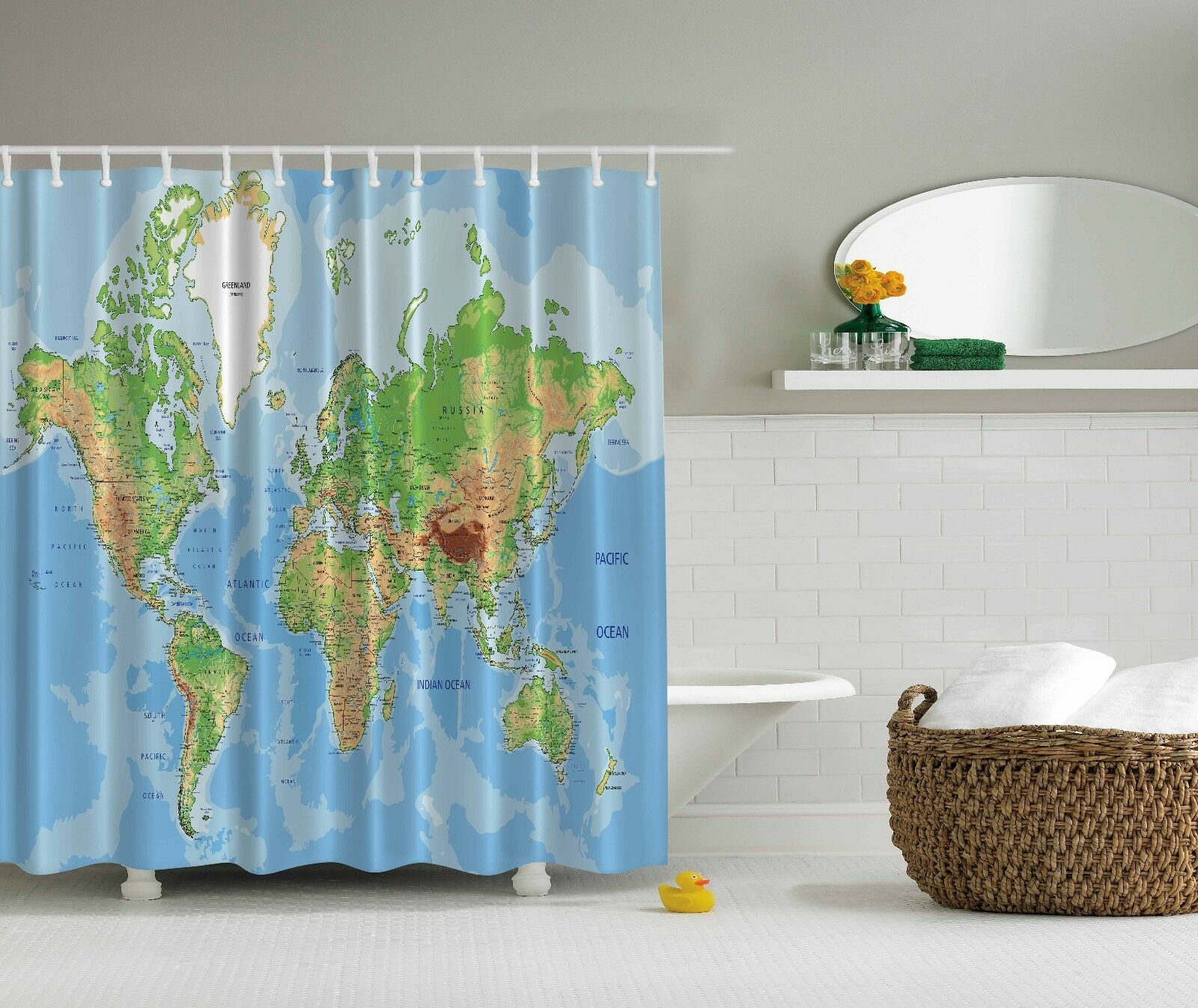 World Map Globe Educational Geographical Shower Curtain Extra Long ...