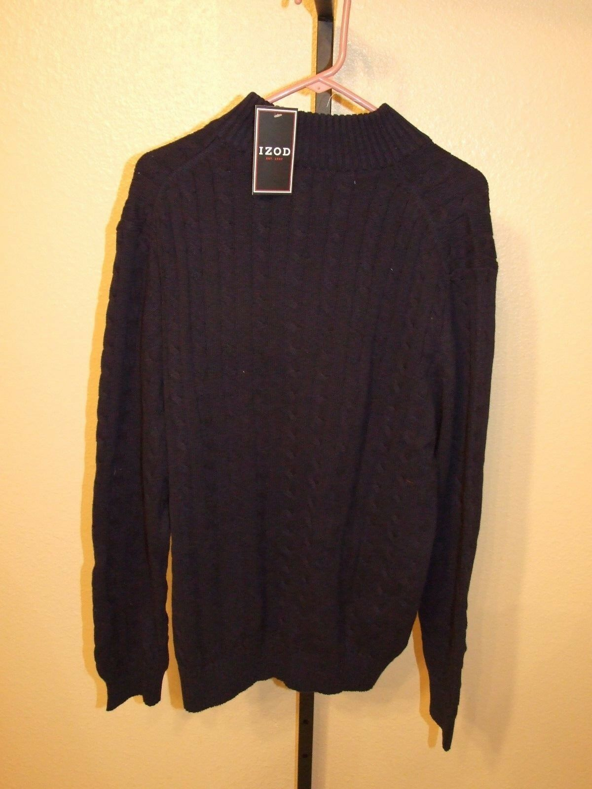 IZOD Mens 1/4 Zip Turtle Neck Sweater Midnight Blue Size M | eBay