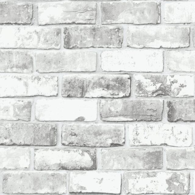 White Brick Wallpaper With Grey Tones And Silver Shimmer Rustic Feature 6751