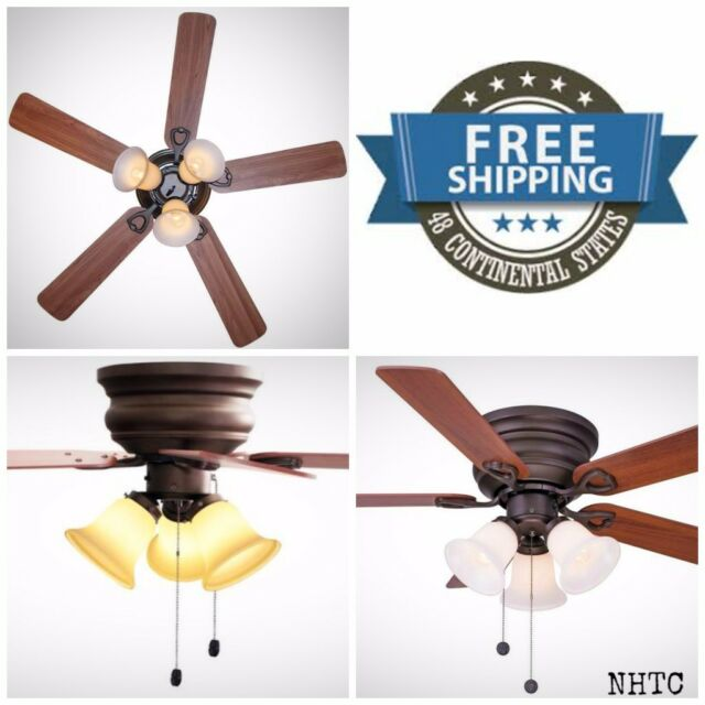 Clarkston 44 in oiled rubbed bronze ceiling fan with light kit 44 oiled rubbed bronze indoor ceiling fan with light kit flush mount new mozeypictures Image collections
