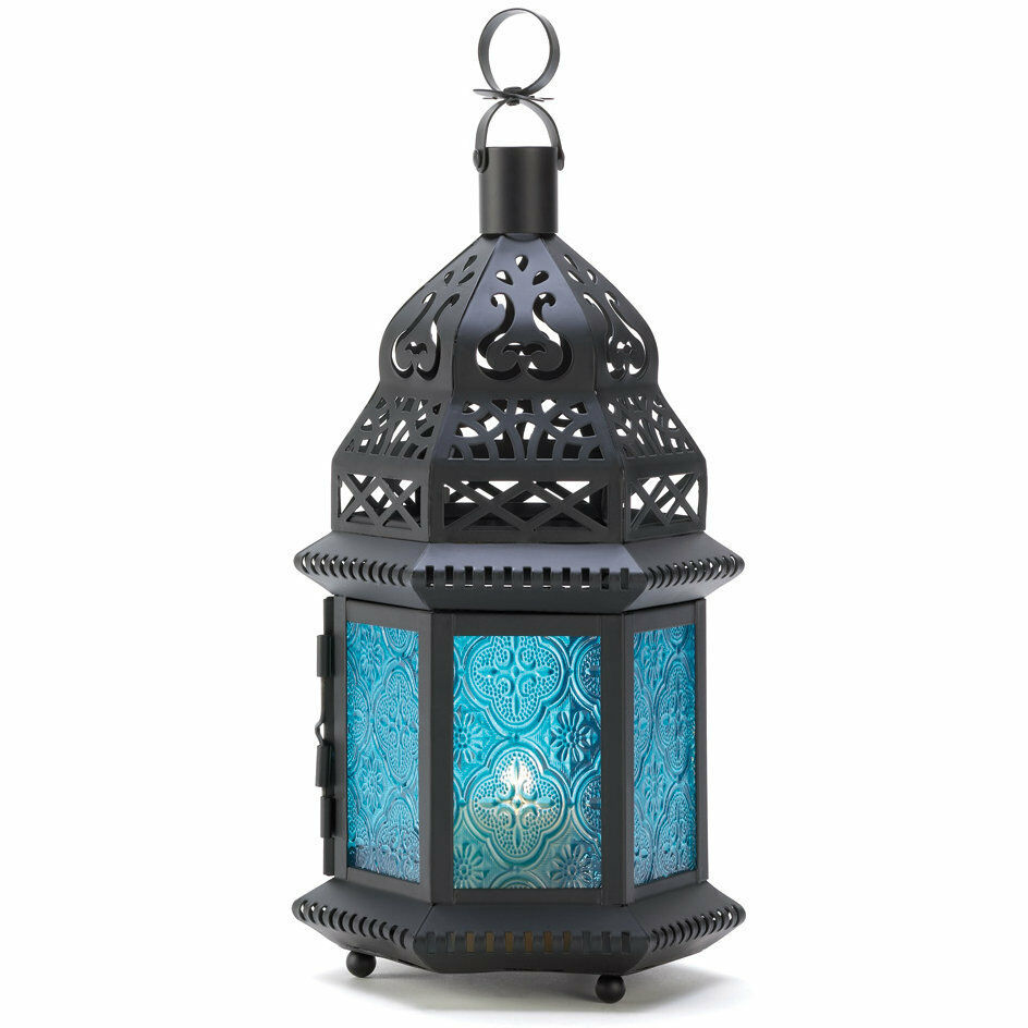 Set of 10 Blue Glass Moroccan Style Candle Lantern Wedding ...