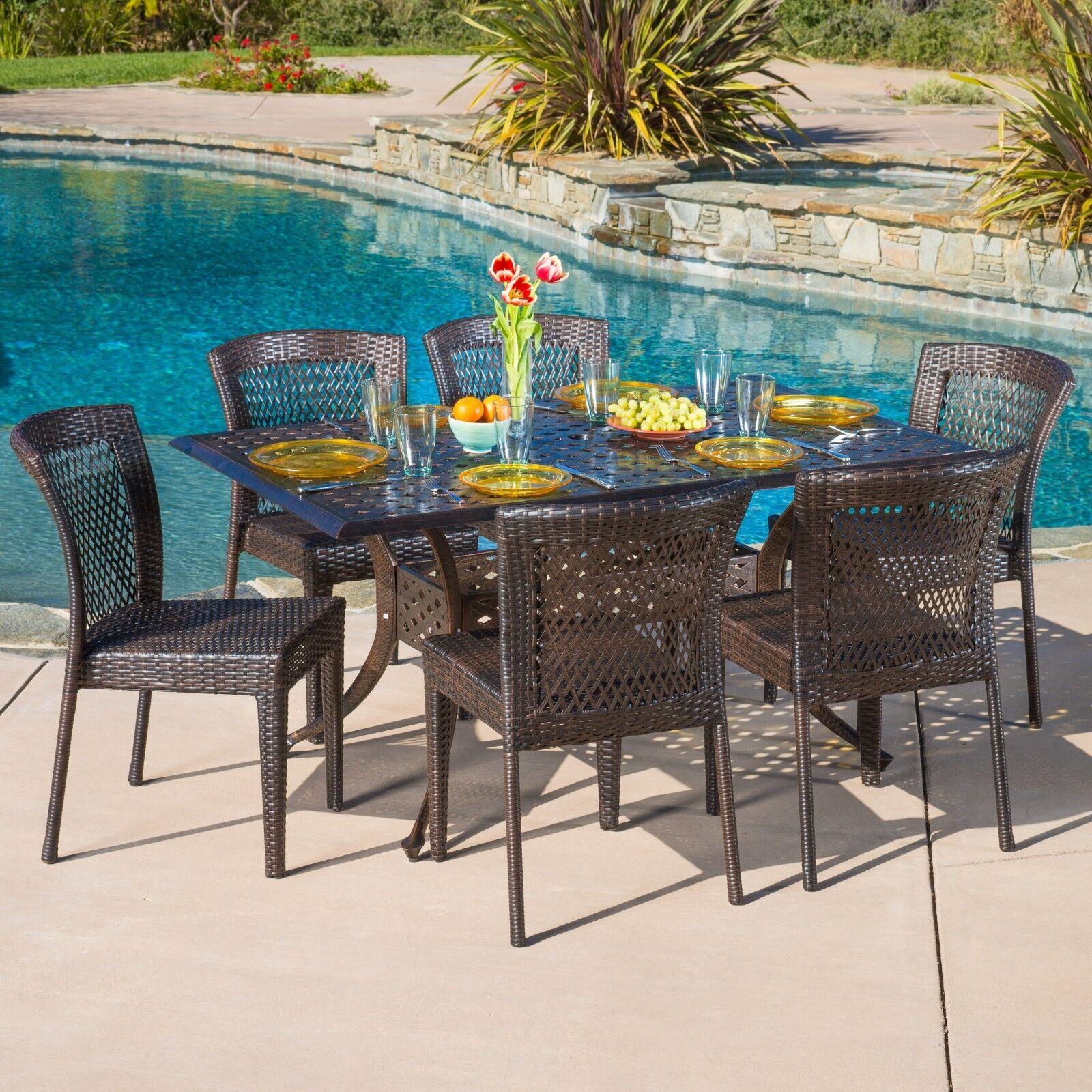 Outdoor Patio Furniture 7pc Florence Cast Aluminum Wicker Dining