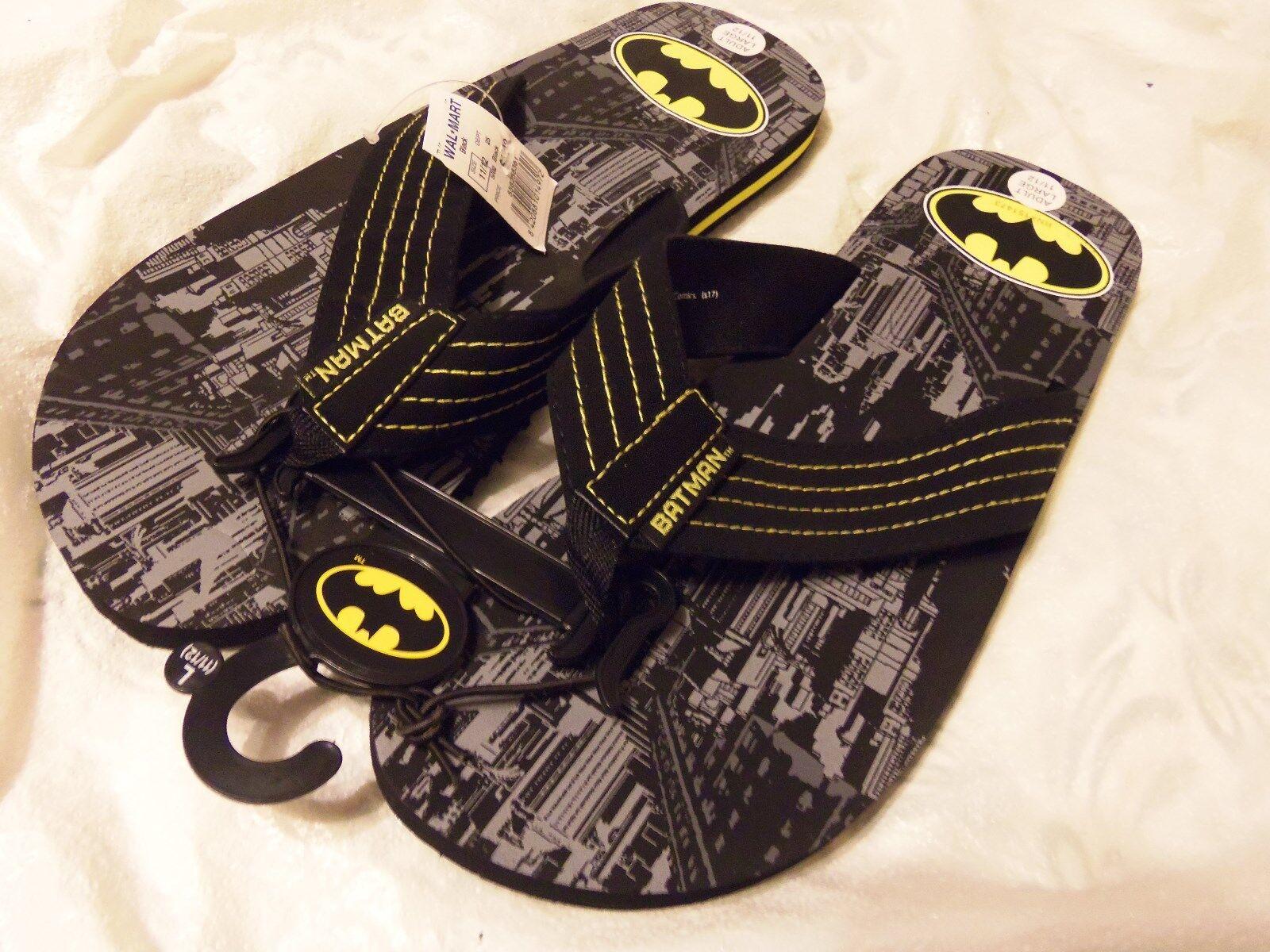Batman Men's Medium Adult Size Black Grey Yellow Gotham Graphic Flip Flops NEW