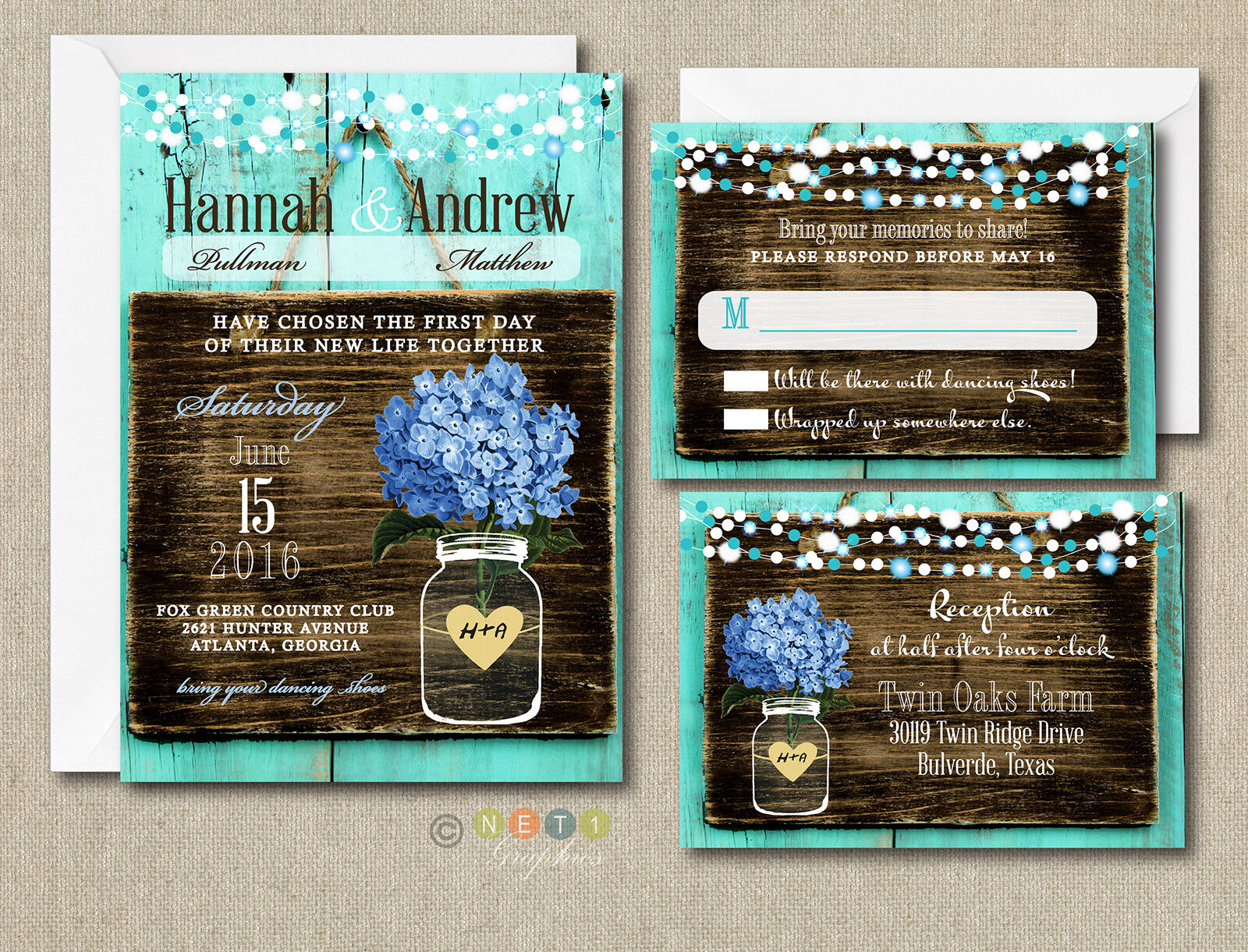 100 Wedding Invitations Suite Blue Hydrangea Rustic Style With ...