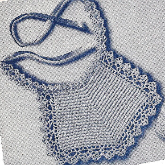 Vintage Crochet Pattern Baby Bib Christening Fancy Ebay