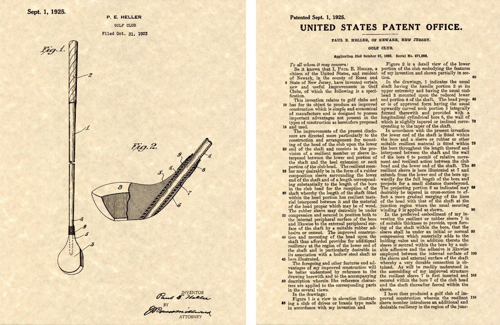 Bobby Jones Golf Driver Patent Art Print Ready to Frame 1925 US Wood ...