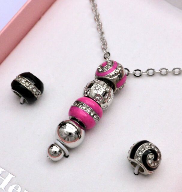 Henley hot pink silver black bead necklace interchangeable beads henley hot pink silver black bead necklace interchangeable beads new in box aloadofball Gallery