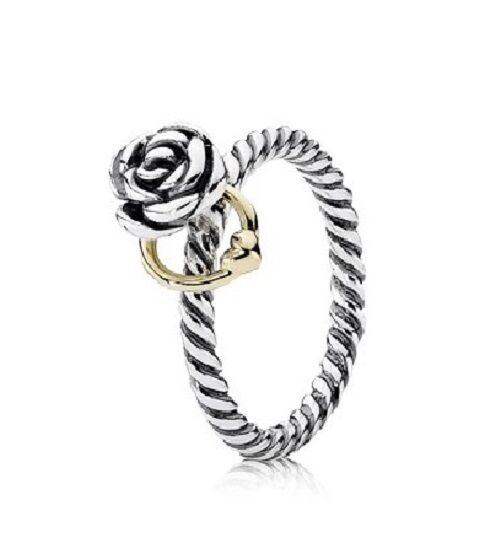 Authentic PANDORA 14k Gold & Silver Two Tone Reminder Rose Ring