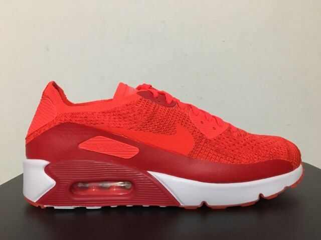 Nike Air Max 90 Ultra 2.0 Flyknit Mens 875943-600 Crimson Running Shoes Size 12